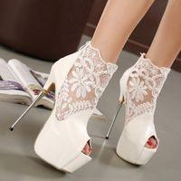 Compra Los zapatos de salto de altura-A estrenar peep toe de encaje talones extremadamente alta sandalia atractiva del salto de altura del talón de los zapatos de la plataforma del alto metal de la manera zapatos de las señoras Blanca