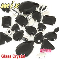 Wholesale Mix Sizes Mix Shapes Black Jet Color Sew On Glass Crystal Rhinestones with Claw Setting Mixed For Evening Dress Y3501