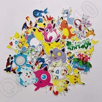 Wholesale 43pcs set Poke Stickers Pikachu Snolax Charmander Waterproof DIY Stickers For Laptop Car Trunk Skateboard Guitar Fridge CCA4939 set