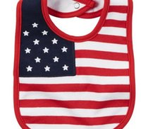 Wholesale New th Of July Flag Bib Red America flag infant bib two style red or green