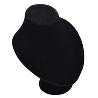 Wholesale New Black Flannelette and Hardboard Round bottom Head Mannequin Head Model Necklace Display Stand Holder