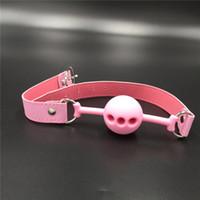 bdsm harness - Pink color ball gag bondage sex toys leather bondage harness bdsm toys bondage gear silicone mouth gag
