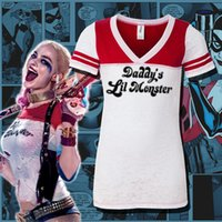 Wholesale Suicide Squad Harley Quinn Daddy s Little Monster Casual T Shirt Short Sleeve Sexy Tops Custom shirt