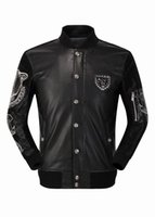 air free jackets - Fast Shipping Autumn New Arrived Popular PHILIPP PLEIN Men s Air Force Plein Tiger Head PP Logo Leather Jacket Coat