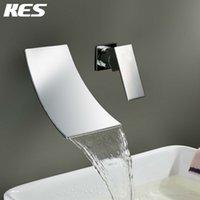bathroom widespread faucet - KES L3200 Single Handle Wall Mount Widespread Waterfall Bathroom Vanity Sink Lavatory Faucet Chrome Brushed