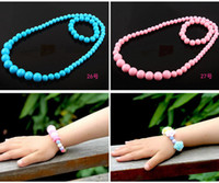 Wholesale 2016 styles kids necklace and bracelet plastic type kids Jewelry gift colorful and good quality