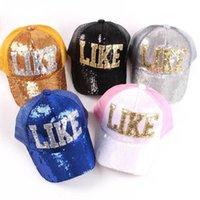 baby trucker hats - Children Spring Summer Mesh Trucker Hats Baby Boy and Girl Letter LIKE Sequins Baseball Caps