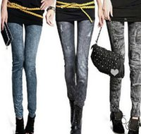 Wholesale Women s Fashion Jeans Look Seamless Leggings Black