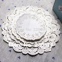 Wholesale quot quot quot quot quot Sizes Round Lace Flower Paper Doilies Placemat Crafts for Wedding Party Decoration Supplies