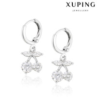 Wholesale White Zirconia Cherry Charm Earrings Lovely Copper Dangle Earring With Imitation Rhodium Plated Xuping Fashion Wedding Jewelry for
