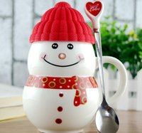 ceramics and pottery - Snowman cup creative ceramic cup cute water cup gift cup ceramic mug cup with lid and spoon Christmas mug gift cup