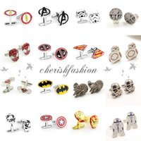 Wholesale Free DHL Fashion Cufflink Superman Star Wars Batman spiderman Cufflinks Fathers Day Gifts For Mens Jewelry Cuff Links Z426 B