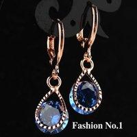 fashion jewelry dropship - Dropship K Gold Plated Fashion Design Hot Romantic Cubic Zircon Lady Women Earrings Dangler Jewelry colors