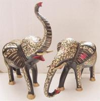 Wholesale Pakistan bronze inch black paint color pair Elephant Animal imports handmade art copper ornaments