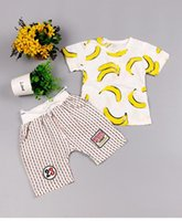 banana outfit - Childen outfits summer new boy girls banana printed t shirt stripe shorts sets boys clothing set kids sport suits BH1997