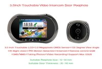 Wholesale 3 quot Touchable Screen Digital Video IR Door Viewer Smart Peephole Visual Doorbell Camera Support GSM Intercom PIR Motion Sensor