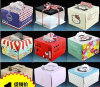 Wholesale cute collapsible portable west point cake box retail mousse box dessert packing box Cake Paper Boxes with handle