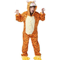 100% cotton pajamas - Tigger Unisex Adult Cotton Short Sleeve Hooded Pajamas Adults Cosplay Cartoon Animal Onesies Sleepwear Summer Homewear
