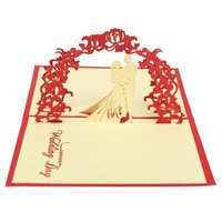 Wholesale D Pop Up Wedding Silhouette Greeting Card Paper Carving Romantic Couple Party Invitation Cards Valentine s Day Suipplies