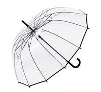 auto stick umbrella - 2016 best price New Black Transparent Windrpoof Dome Birdcage Stick Long Auto Open Umbrella