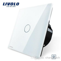 Wholesale Livolo EU Standard Dimmer Switch White Crystal Glass Panel Wall Light Touch Dimmer Switch VL C701D