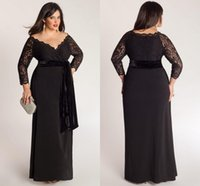 2016 Nova Formal Plus Size Mãe da Noiva Vestidos de manga comprida Lace Top Floor Comprimento de noite preto Mãe vestidos de casamento vestido de Clientes