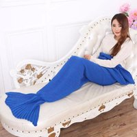 Wholesale 6 Colors Knitted Wool Mermaid Tail Sofa Blanket Handmade Crocheted For Adult Super Soft Bed Wrap For Fashion Women