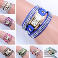 american flag watch - DHL Women Vintage Square Dial Rhinestone Weave Wrap Multilayer Leather Bracelet Wrist watch Women Koreanfashion Knitted Hand Chain ZJ B01
