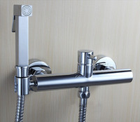 Wholesale copper Toilet Hand held Hot Cold Bidet Spray Shattaf Water Valve Mixer with Holder Sprayer Shower BD277