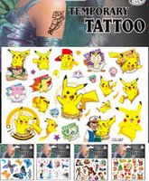 Wholesale 124 style Cartoon Temporary Tattoos Sticker Pocket Pikachu minions frozen Iron Man Avengers body tattoo kids toy Tattoos Sticker