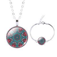 Wholesale 2PCS Set Mandala Flower Pendant Glass Cabochon Necklace Bracelet OM Symbol Buddhism ZenMandala Jewelry Sets for Women Gift