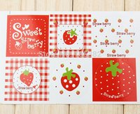 adhesive lables - Kawaii strawberry design adhesive seal sticker Gift packing lables Stickers aa