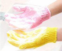 Wholesale scrub bath glove Five fingers Bath Gloves hammam scrub mitt magic glove exfoliating a of color