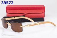 bamboo sun - New Vintage Wooden Buffalo Horn Sunglasses Men Women Fashion Designer Rimless Sun Glasses Bamboo Gold Metal Eyewear Frame