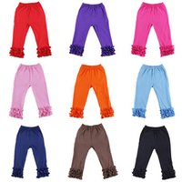 Wholesale Winter Girls Trousers with Cotton Material Ruffle Girls Legging Pants Skinny Style for Spring and Fall