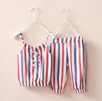 Cheap 2 Pcs Set 2016 Children's Girl Printed Sling Vest + Short Pant Child Girl Casual Summer Beach Wear Outfits BH2252