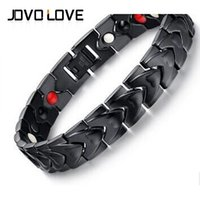 Wholesale IP Black Plating Men s Health Bracelets Magnetic V Power Stainless Steel Charm Bangle Jewelry For Men Far Infrared Bracelet