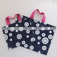 apparel markets - 40 cm gradient circle print High qualiy large market shopping carry bags plastic grocery carry bags with pink handle