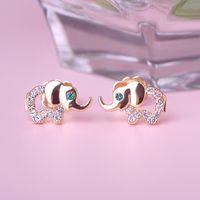 Cheap Cute Little Elephant Stud Earrings Brincos Pequenos Austrian Crystal Stainless Steel Aretes Ear Cuffs Korean Style Star Bijoux