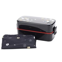 Wholesale Fun Life It s Lunch Time Japan style Double Tier Bento Lunch Box Large Meal Box Tableware Microwave Dinnerware Set