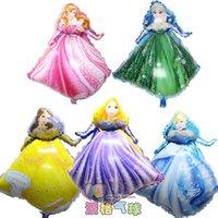 baby belle princess - 5pcs Belle Aurora Cinderella Rapunzel Elsa five princess balloon baby birthday party decoration helium foil ballon