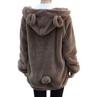 bear hooded sweatshirt - Women gardigan hoodies Girl Winter Loose Fluffy Bear Ear Hoodie Hooded Jacket Warm Outerwear Coat cute sweatshirt H1301