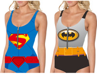 batman swim - BATMAN Bikini Women SUPERMAN Swimsuit With Zipper Bat Hero WONDER WOMAN Beachwear Super MAN Bat Hero One Piece Swim Set D Digital Printing