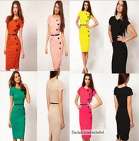 Wholesale Women OL Dresses V Business Work Stretch Bodycon Cocktail Party Evening Pencil Dress Office Wiggle Slim Rockabilly Career Dress KKA639