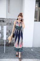 Wholesale Lver Sign Bohemian national wind long section of the chest strap lace dress seaside beach dress w2412