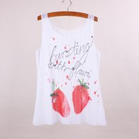 apparel clothing designer - Fashion Strawberry print women top tees summer dress female sleeveless tanks new fabric clothing customize designer apparel