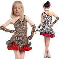Wholesale Children Performance Dance Dress For Girls Cha Cha Kid Competition Leopard Grain Latin Dress Dancing Girl Class Dancewear Kids Latin Costume