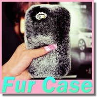 Wholesale Luxury Rex Rabbit Hair Diamond Cell Phone Cases Cover Plush Warm Fur Protective Rhinestone Shell for Iphone Sumsang Galaxy S6 S7 Edge