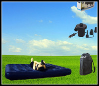 Wholesale 2016 New Arrival Double Indoor And Outdoor Air Mattress For Household Flocking Inflatable Bed Free DHL
