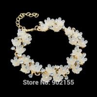 agate crafts - New Flower Resin Rhinestone Strand Bracelets Summer Style Designer Jewelry alloy craft alloy mesh alloy mesh